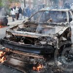 A car is set alight on Clarence Road in Hackney